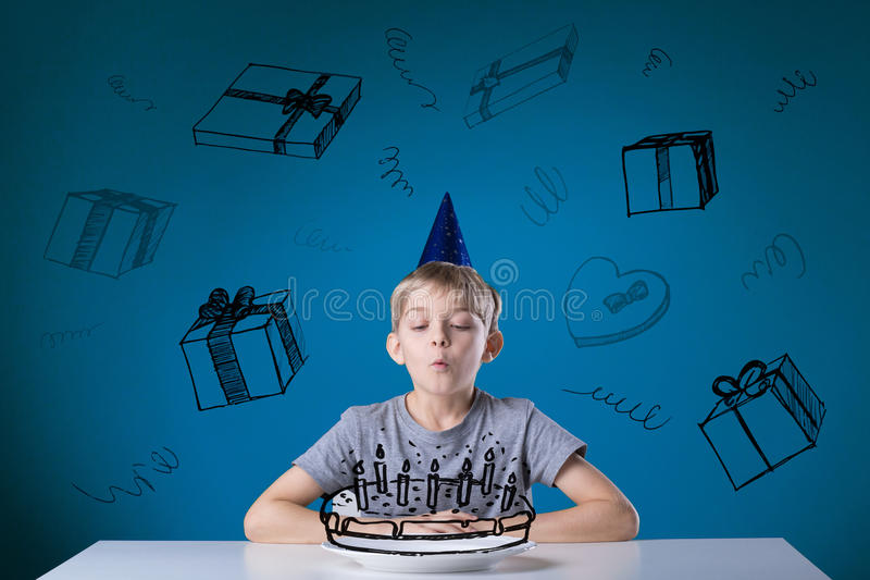 Blowing the candles stock photography