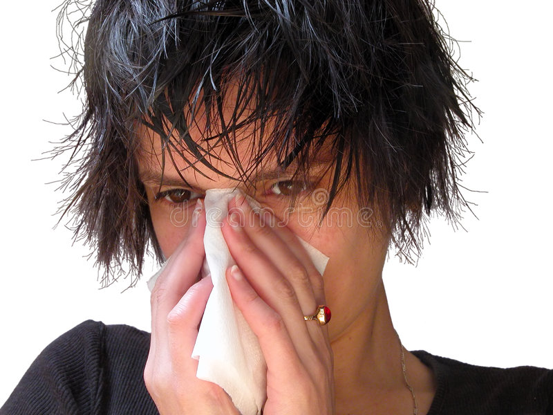 Download Blowing Her Nose Royalty Free Stock Photos - Image: 130428