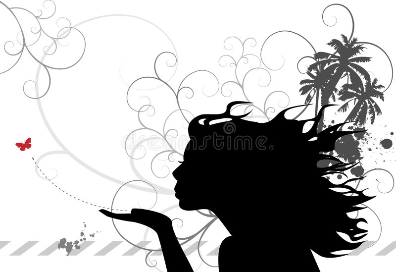 Blowing a Kiss vector illustration