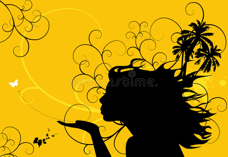 Download Blowing a Kiss stock illustration. Illustration of hair - 2856470