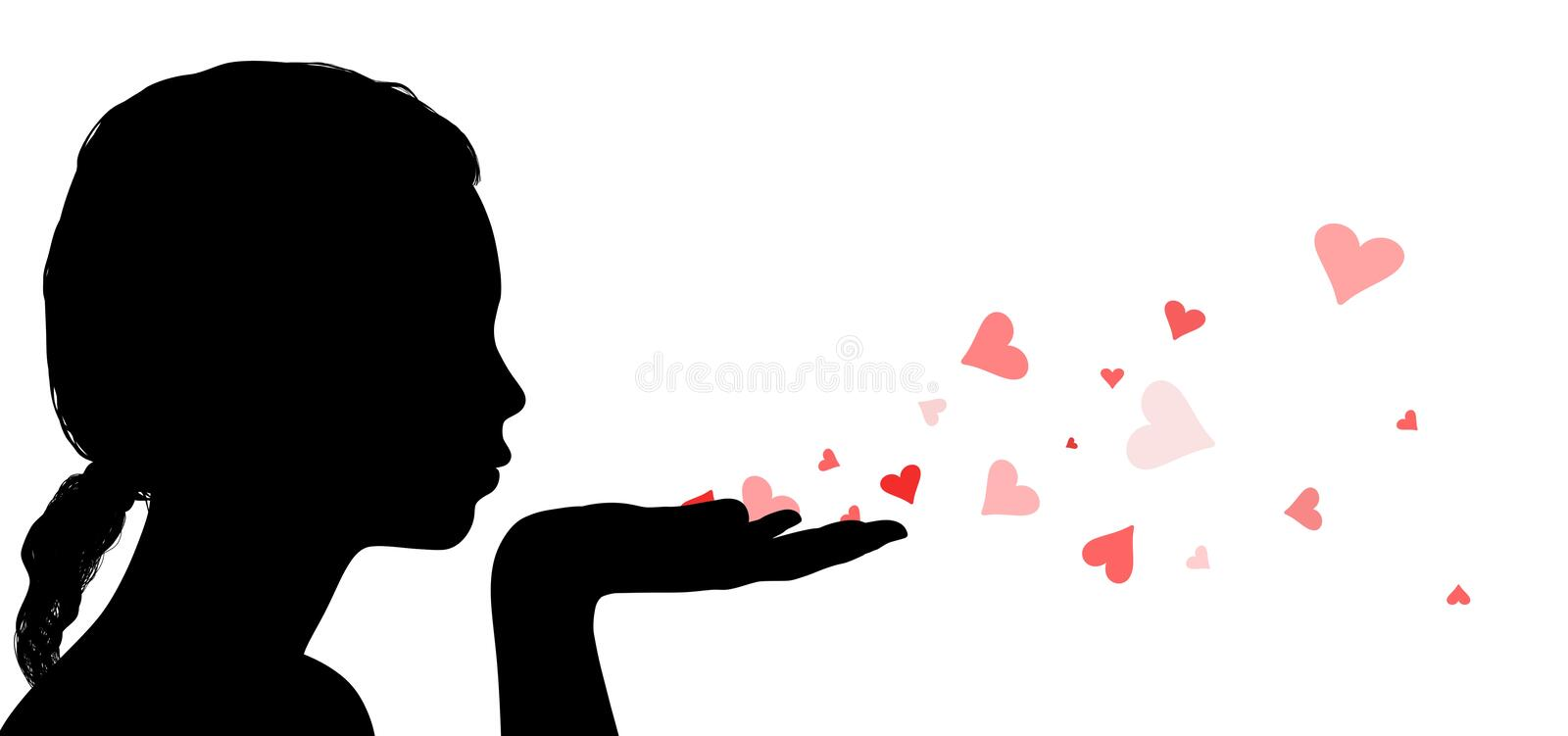 Blowing Love Hearts stock photo