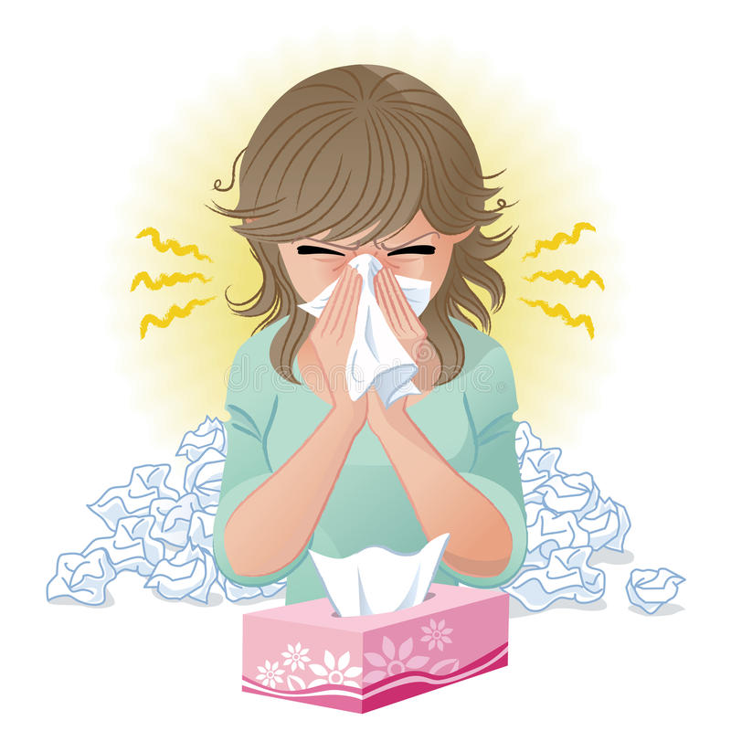 Blowing nose. Woman blowing nose. Hay fever,allergy, flu.Gradients and blend tool is used royalty free illustration