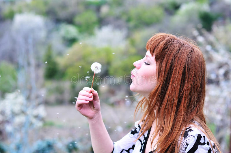 Download Blowing redheaded teen stock image. Image of happiness - 14105511