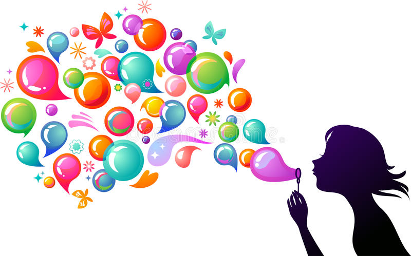 Blowing soap bubbles - 2 royalty free illustration