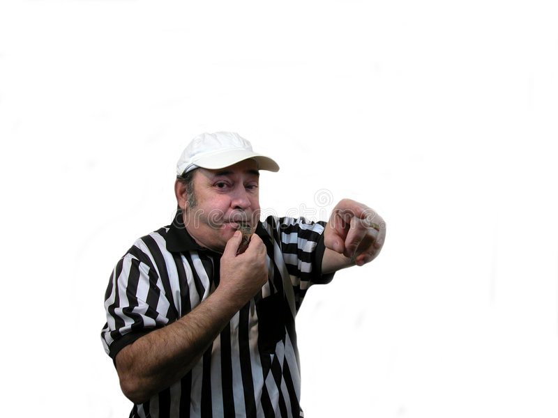 Blowing the whistle royalty free stock image