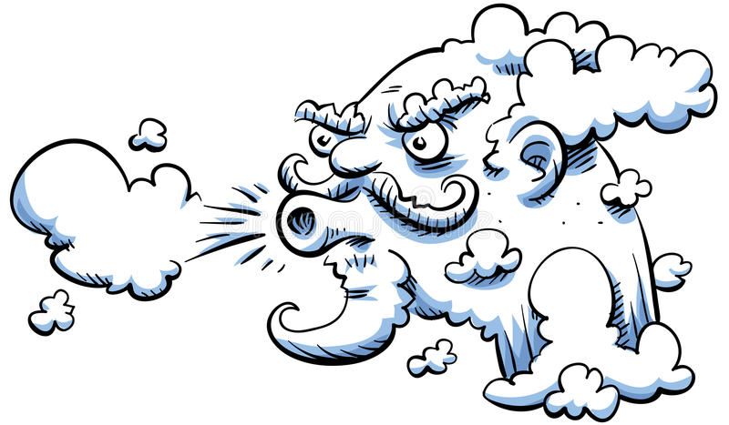 Blowing wind. The cartoon wind blows royalty free illustration