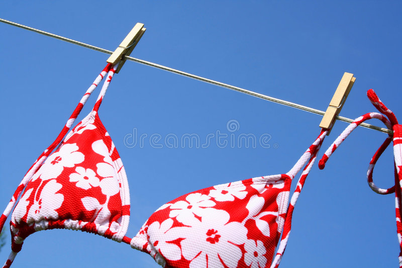 Blowing in the wind. Bikini bra drying and blowing in the wind royalty free stock photo