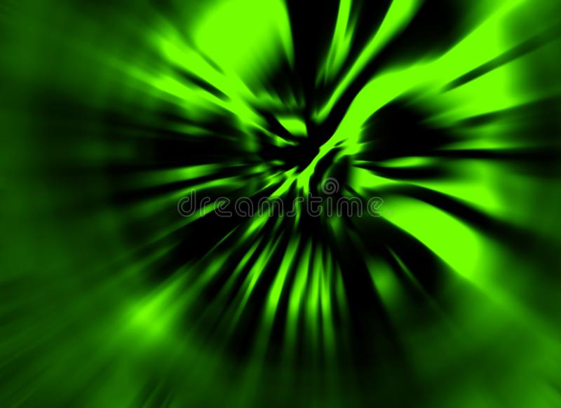 Blown wind zombie daemon. Illustration in genre of horror. Green color. States of mind. Blur effect. Creative design backdrop vector illustration