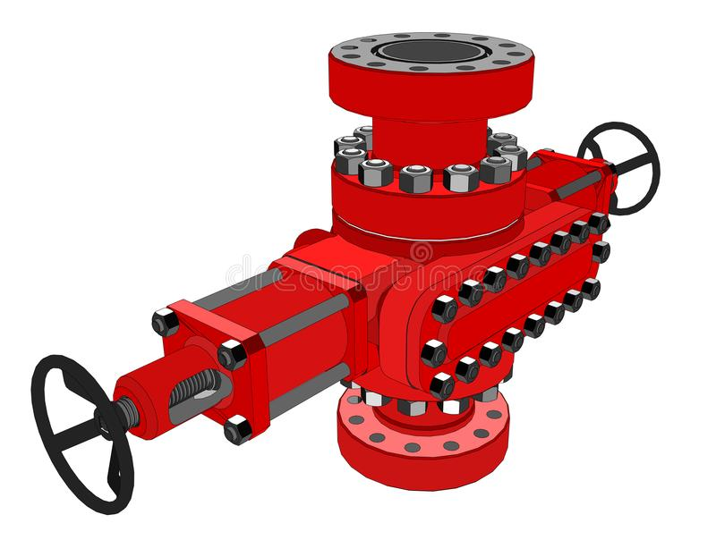 Blowout preventer. 3d illustration. Concept of the oil industry royalty free illustration