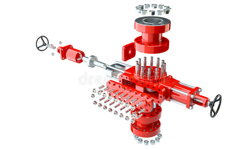 Blowout preventer in disassembled condition. Isolated on white. 3d illustration royalty free illustration