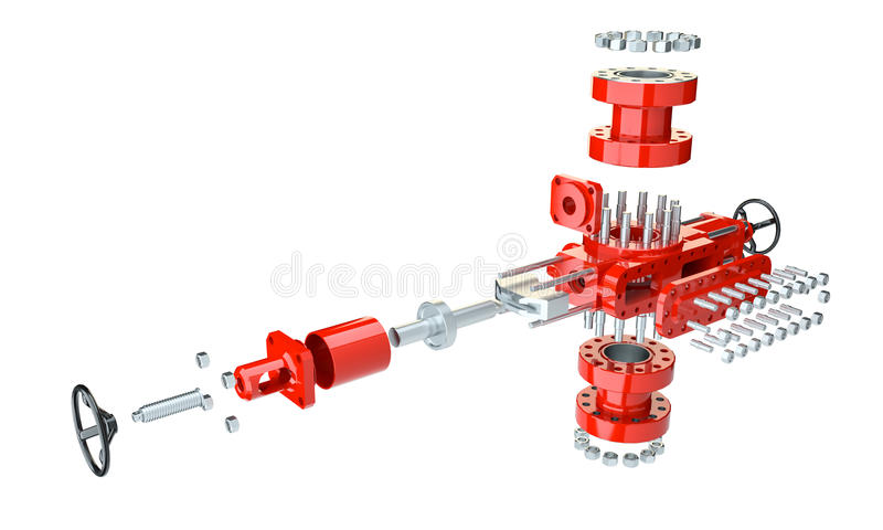 Blowout preventer in disassembled condition. Isolated on white. 3d illustration vector illustration