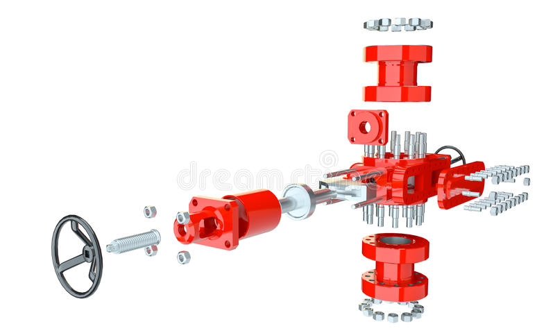 Blowout preventer, isolated. On white. 3d illustration royalty free illustration