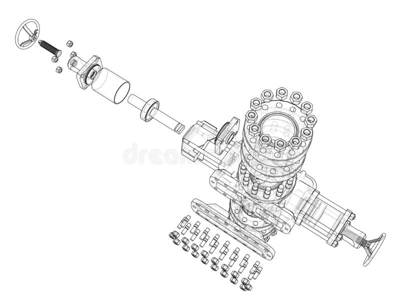 Blowout preventer. Vector rendering of 3d royalty free illustration