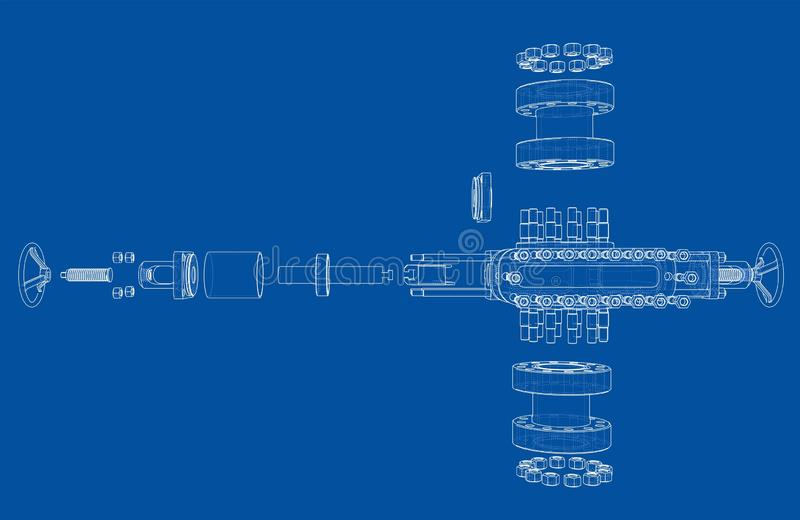 Blowout preventer. Vector rendering of 3d. Blowout preventer. Wire frame style. Vector rendering of 3d. Concept of the oil industry vector illustration