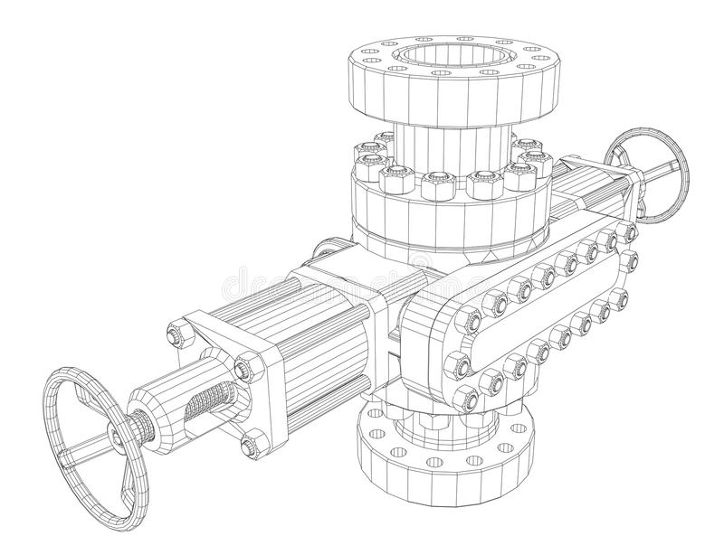 Blowout preventer. Wire frame style. Vector rendering of 3d. Concept of the oil industry royalty free illustration