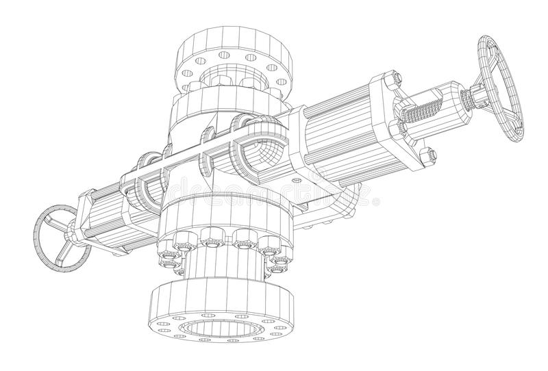 Blowout preventer. Wire frame style. Vector rendering of 3d. Concept of the oil industry stock illustration