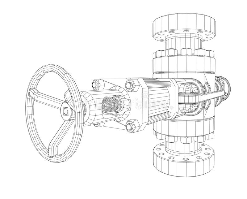 Blowout preventer. Wire frame style. Vector rendering of 3d. Concept of the oil industry vector illustration