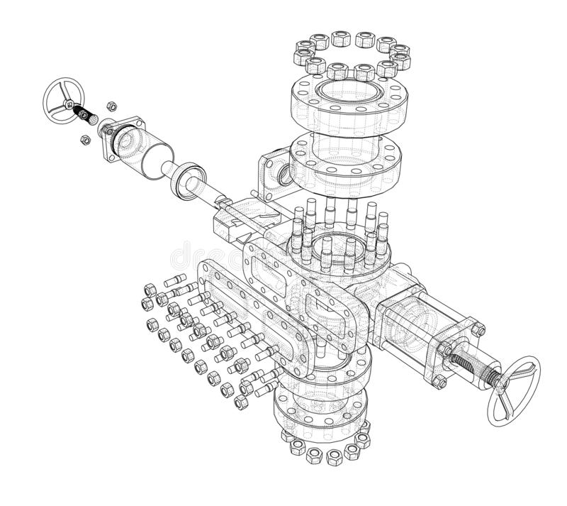Blowout preventer. Vector rendering of 3d stock illustration