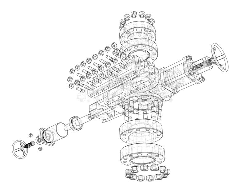 Blowout preventer. Vector rendering of 3d. Blowout preventer. Wire frame style. Vector rendering of 3d. Concept of the oil industry royalty free illustration