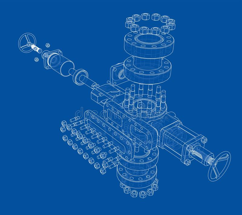 Blowout preventer. Vector rendering of 3d. Blowout preventer. Wire frame style. Vector rendering of 3d. Concept of the oil industry stock illustration