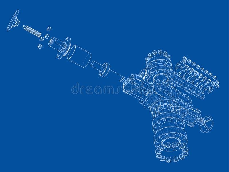 Blowout preventer. Vector rendering of 3d vector illustration