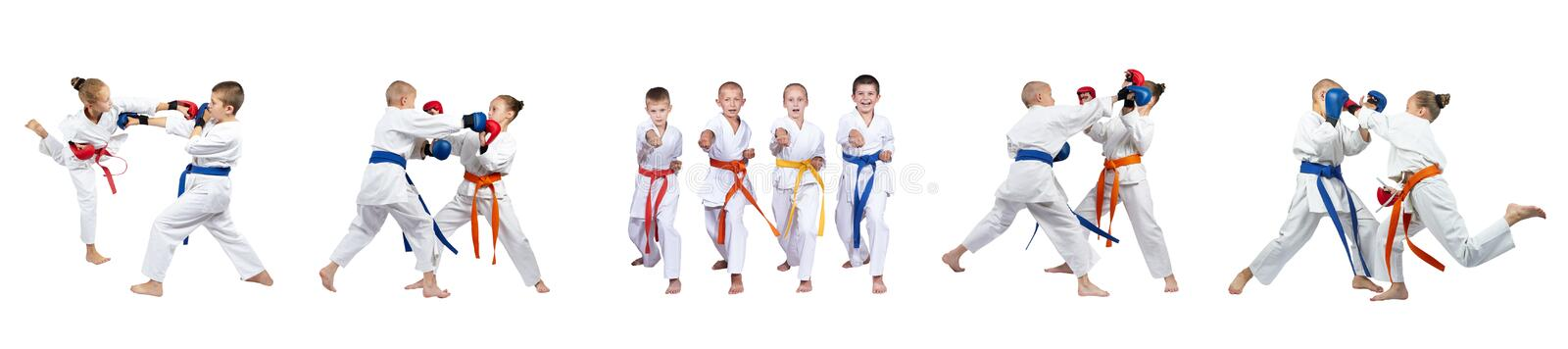 Blows hands are training the children in karategi collage royalty free stock image