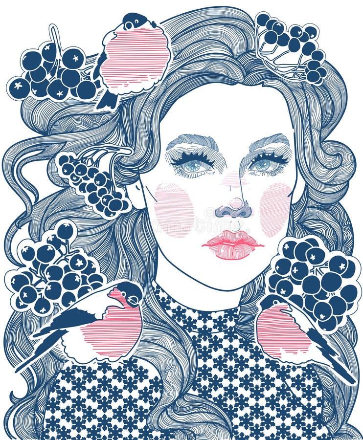 Blozend meisje en goudvink in de winter stock illustratie