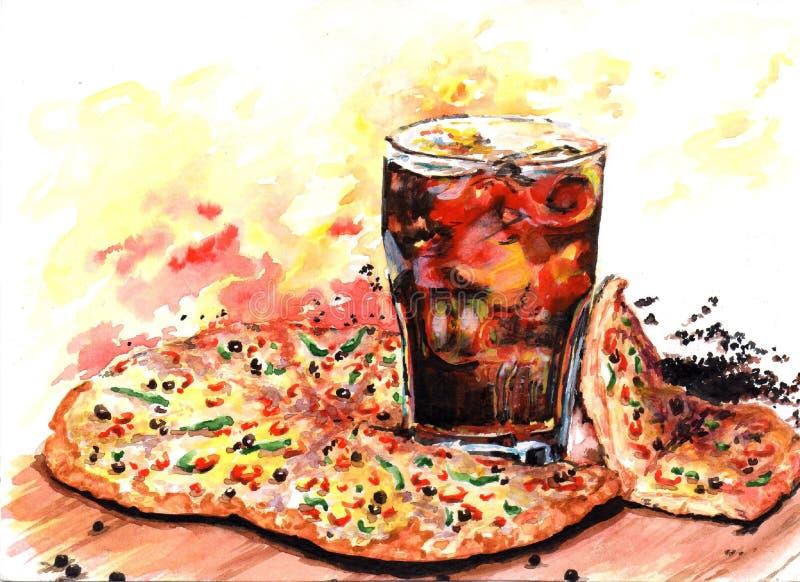 Blozende pizza en drank met ijs op een raad vector illustratie