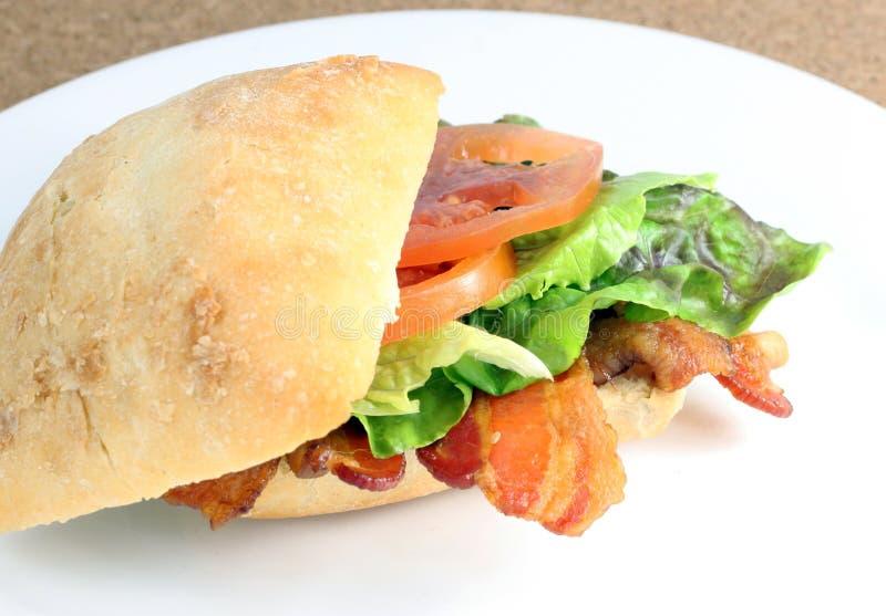 BLT Sandwich. Bacon, lettuce and tomatoes sandwich in ciabatta bread stock photos