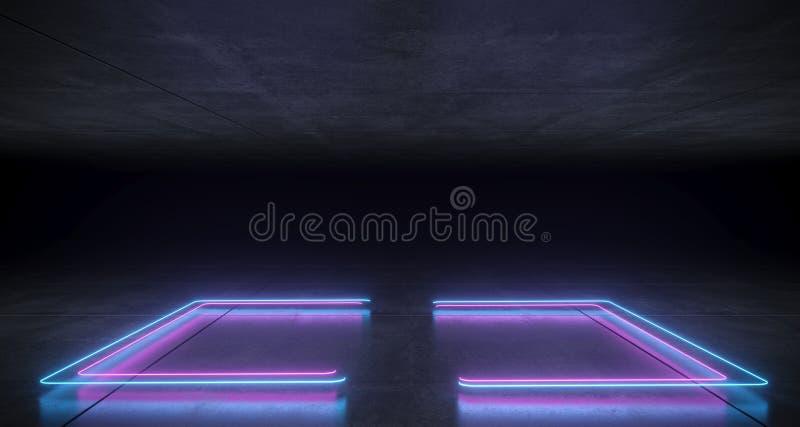 Blu al neon a forma di del sostegno futuristico di fantascienza e Li d'ardore porpora illustrazione vettoriale