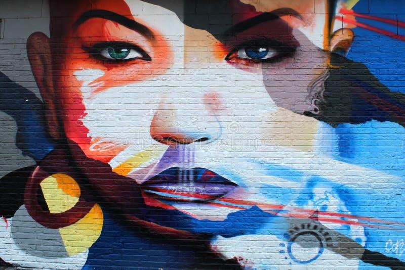 Blu, arte, Street Art, murale fotografie stock