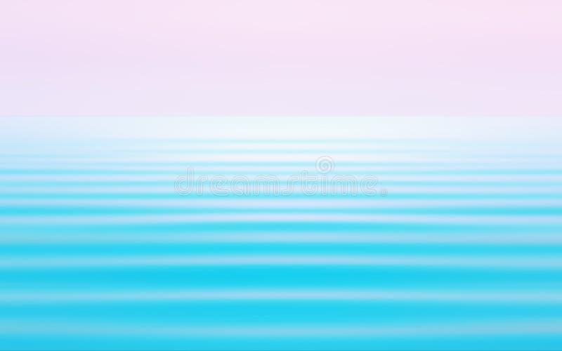 Blu astratto con il fondo rosa di vista sul mare nei toni pastelli immagine stock