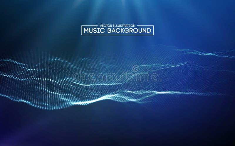 Blu astratto del fondo di musica L'equalizzatore per musica, mostrante le onde sonore con musica ondeggia, equalizzatore del fond illustrazione di stock
