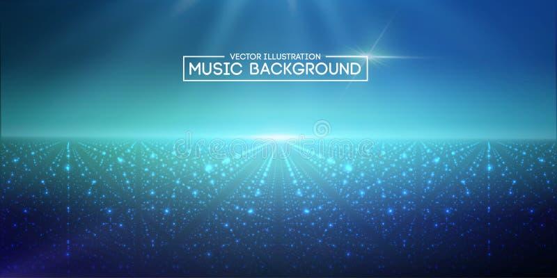 Blu astratto del fondo di musica L'equalizzatore per musica, mostrante le onde sonore con musica ondeggia, equalizzatore del fond illustrazione vettoriale