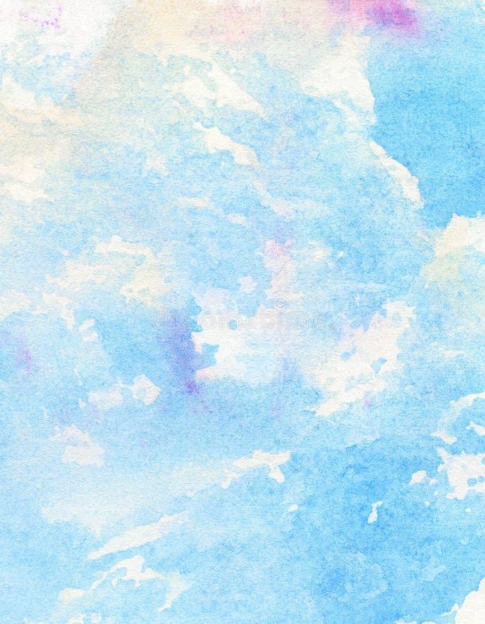 Blu astratto leggero, dipinto, fondo del cielo dell'acquerello della perdita immagine stock