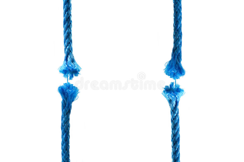 Blu cut rope. Concept image on white background stock photography
