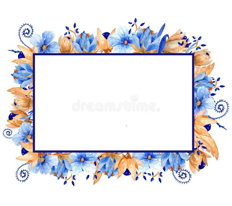 Blu dell'acquerello e struttura floreale dell'oro Struttura elegante dell'acquerello! royalty illustrazione gratis