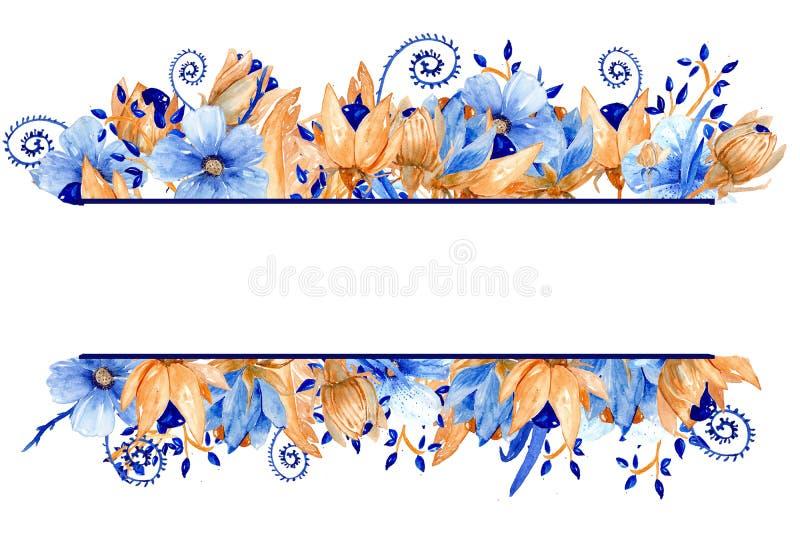 Blu dell'acquerello e struttura floreale dell'oro Struttura elegante dell'acquerello! illustrazione vettoriale