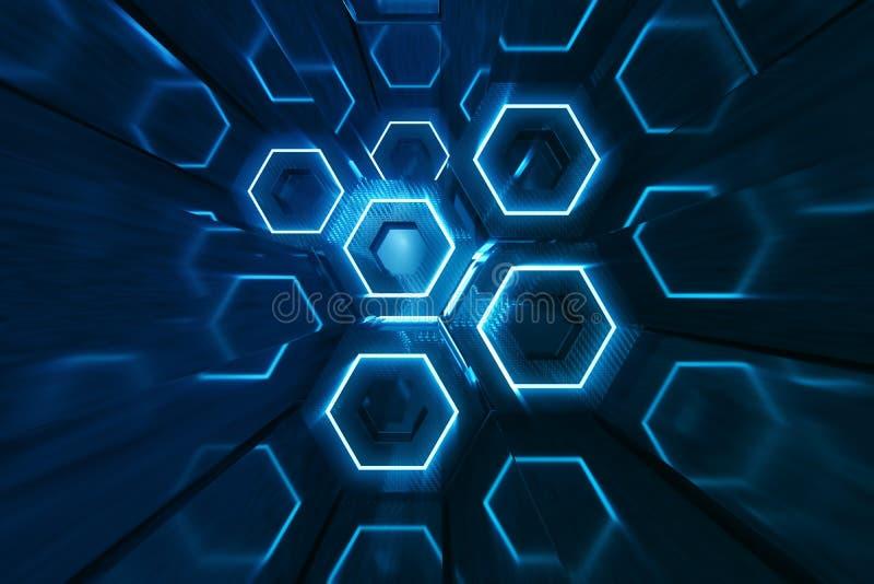 Blu dell'estratto del modello di superficie futuristico di esagono, favo esagonale con i raggi luminosi, rappresentazione 3D illustrazione di stock