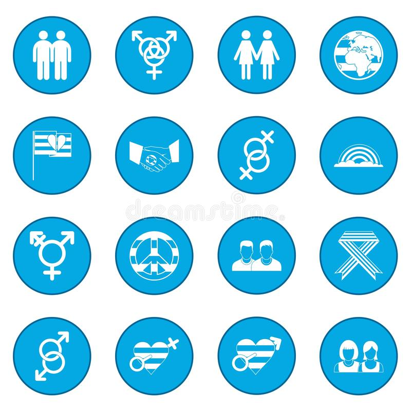 Blu dell'icona dei gay illustrazione di stock