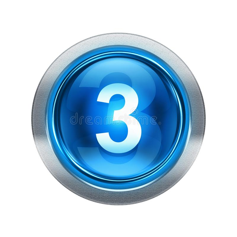 Blu dell'icona di numero tre con il bordo metallico illustrazione di stock