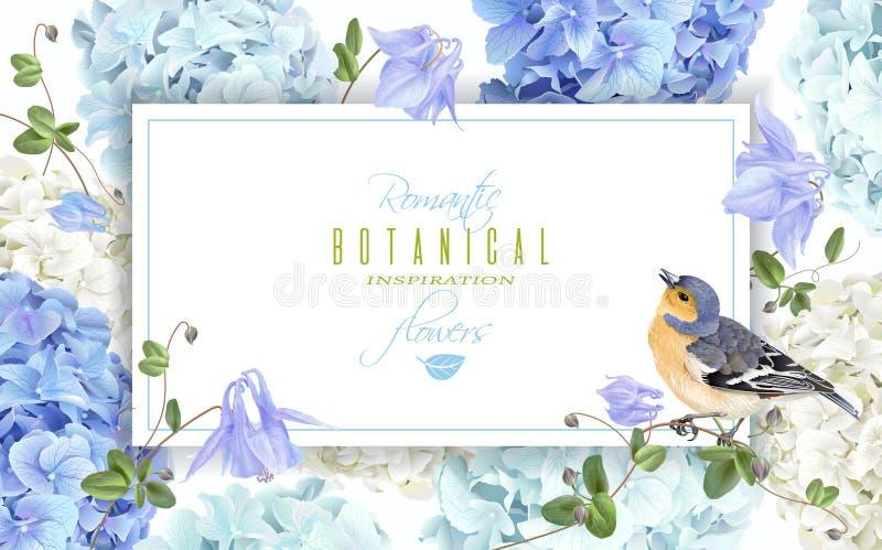 Blu dell'insegna dell'uccello dell'ortensia illustrazione vettoriale