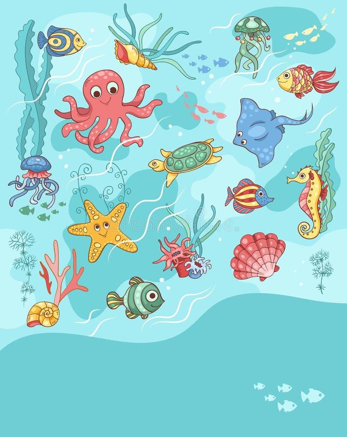 Blu della carta di vita di mare royalty illustrazione gratis