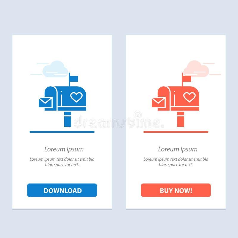 Blu della scatola della cassetta delle lettere, della posta, di amore, della lettera, di lettera e download rosso ed ora comprare illustrazione di stock