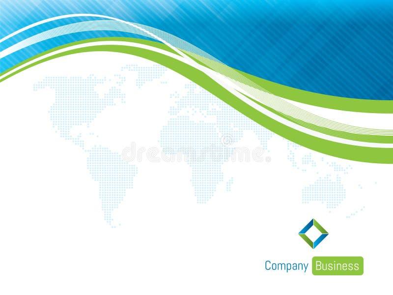 Blu di affari del modello del fondo con la mappa di mondo illustrazione di stock