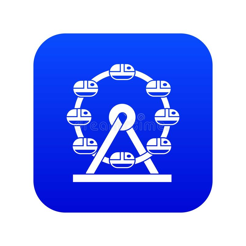 Blu digitale di ferris dell'icona gigante della ruota illustrazione di stock