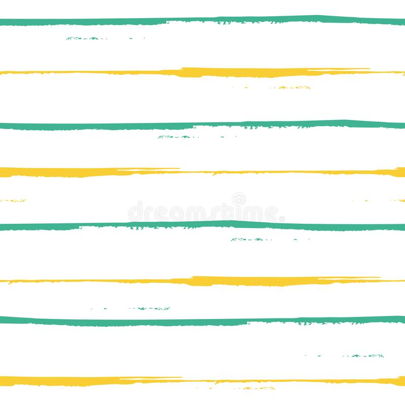 Blu dipinto a mano spazioso e progettazione gialla delle bande di lerciume Modello geometrico senza cuciture di vettore su fondo  illustrazione di stock