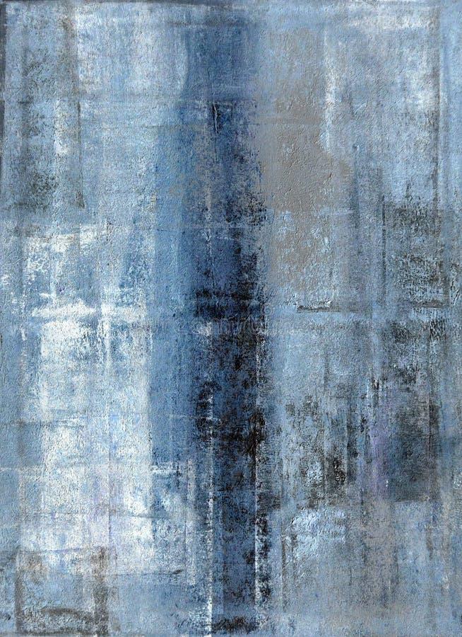 Blu e Grey Abstract Art Painting illustrazione di stock