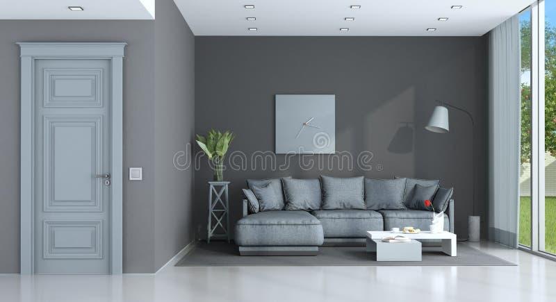 Blu e salotto grigio royalty illustrazione gratis