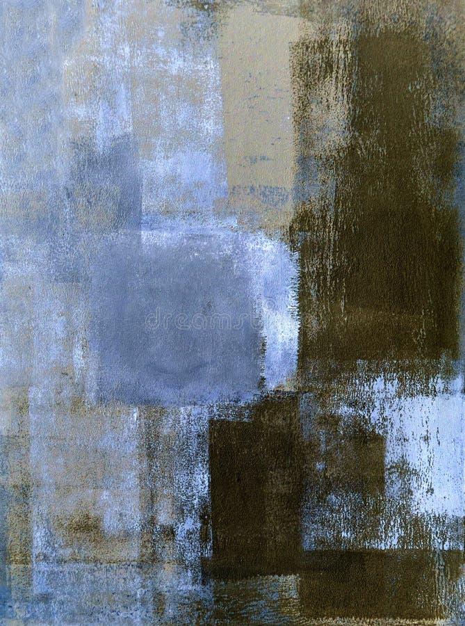 Blu ed estratto Art Painting di Brown fotografia stock